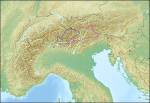 Map of Engadinesia with its divisions as well as adjoining Greater Tyrol